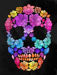 Flower Skull by Lia Shaffer, via Behance Tattoo Ideas, Sugar Skull Wallpapers, Color Sugar Skull Tattoo, Flower Sugar Skull Tattoo, Neon Sugar Skull Tattoo, Flower Skull, Lia Shaffer, Color Skull Tattoo, Sugar Skull Flower