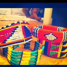 African bead braclets