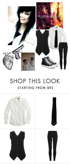 """""""Genderbent Gerard Way"""" by sarin-the-killjoy ❤ liked on Polyvore featuring J.Crew, Yves Saint Laurent, Polo Ralph Lauren and Converse"""