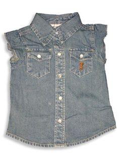 Cool Island - Girls Cap Sleeved Top, Blue Denim 9617-5