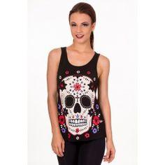 Débardeur Gothique Rockabilly Psychobilly Tattoo Skull