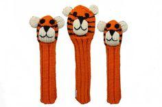 Tiger Animal Golf Headcover Set - Driver, Fairway, & Hybrid Golf Club Covers, Etsy Cards, Wool Dryer Balls, Pet Tiger, The Big Lebowski, Organic Baby, Knitting, Fabric, Handmade