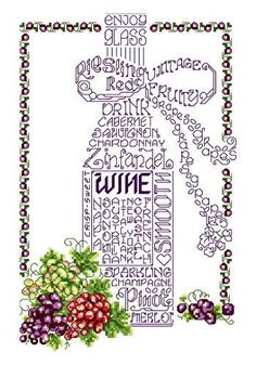 Lets Wine - cross stitch pattern designed by Ursula Michael. Category: Words.