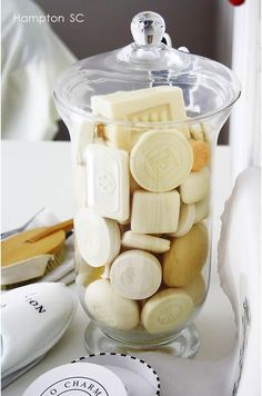 How to involve souvanirs in a bathroom; Hotel soap in à glass jar! Yes I shall have one of these for my guest bathroom - Hotels Decoration Bathroom Grey, Small Bathroom, Bathroom Mirrors, Funny Bathroom, Bathroom Cabinets, Bathroom Canvas, Guest Bathrooms, Bathroom Faucets, Lowes Bathroom
