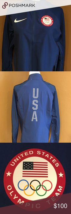 Nike USA 🇺🇸 Olympic Jacket NWT Blue Zip up Jacket with two zipper pockets. Nike Jackets & Coats