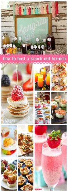 to Host a Knock Out Brunch Over 50 ideas of how to throw a knock out brunch! The best party ideas for any time of year.Over 50 ideas of how to throw a knock out brunch! The best party ideas for any time of year. Brunch Con Champagne, Mimosa Brunch, Brunch Food, Mothers Day Brunch, Sunday Brunch, Brunchs Ideas, Ideas Party, Food Ideas, Party Ideas For Teen Girls