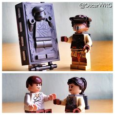 Han Solo in Carbonite and Princess Leia as Boushh
