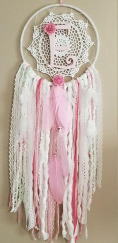 Custom Initial, Pretty In Pink Dream Catcher-Wall Hanging-Boho Dreamcatcher-Lace Dreamcatcher-Boho Chic Decor -Valentines Gift by OurBuckeyeFarms on Etsy