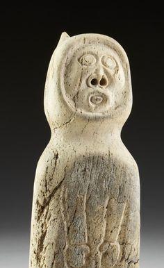 Shaman, bone carving, by Karoo Ashevak  (1940-1974) Spence Bay