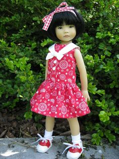 """RED SAILORGIRL  made to fit 13"""" Little Darling Effner Vinyl doll by Darla"""
