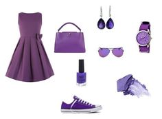 """""""Purple pop"""" by marissarocks-1 on Polyvore featuring Louis Vuitton, NARS Cosmetics, Crayo, Converse and New Look"""
