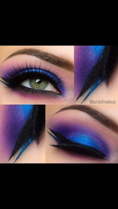 10 Bright Eye Makeup Ideas To Make a Statement! 10 Bright Eye Makeup Ideas To Make a Statement!,Lidschatten Magnificent Blues and Purples ❤'d by makeupartistrycai… To have radian eyes for the perfect eye makeup. Bright Eye Makeup, Purple Eye Makeup, Colorful Eyeshadow, Colorful Makeup, Purple Hair, Exotic Makeup, Black Makeup, Peacock Eye Makeup, Colorful Hair