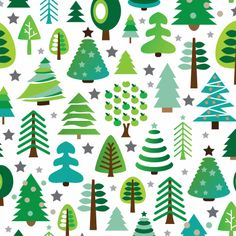 Retro christmas tree pattern in green and blue. Postcard for your loved ones. Sweet lovely graphics.