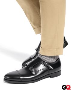 Don't be shy with those fancy shoes! Really make your monks pop by showcasing them with cuffed pants hemmed short.    Shoes,  by Giorgio Armani. Socks by Falke. Khakis by Dsquared2.