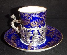 Set of William Comyns Silver and Porcelain Coffee Cans and Saucers from penroseantiquesltd on Ruby Lane