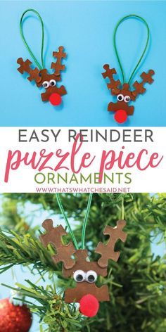 Reindeer Puzzle Piece Ornaments A quick and fun Christmas craft that is perfect for kids and groups! Upcycle those old puzzles into cute reindeer puzzle piece ornaments. Great for gifts! Kids Christmas Ornaments, Decoration Christmas, Preschool Christmas, Christmas Activities, Christmas Crafts For Kids, Xmas Crafts, Diy Christmas Gifts, Christmas Humor, Christmas Fun