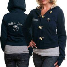 Old Time Hockey Buffalo Sabres Ladies Inna Toggle Hoodie Sweatshirt - Navy Blue