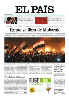 Egipto se libra de Mubarak. El País, Nacional, 12 febrero 2011