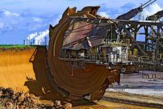 World's biggest excavator, Bagger 288, used to extract coal in Tagebau Hambach strip mine (Germany). Overdevelopment, Overpopulation, Overshoot.