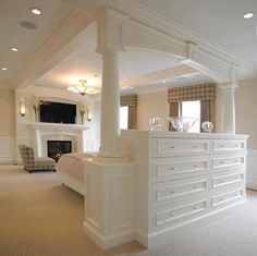 built-in dresser with back that serves as the headboard for the bed. My new room! Closet Bedroom, Home Bedroom, Bedroom Decor, Bedroom Ideas, Bedroom Photos, Bedroom Furniture, Master Bedrooms, Bedroom Divider, Bedroom Setup