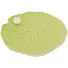 Bordallo Pinheiro Leaf with Flower Plate - Medium ($17) ❤ liked on Polyvore featuring green
