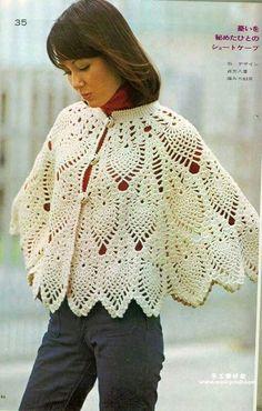 crochet cape or poncho Crochet Cape, Black Crochet Dress, Irish Crochet, Crochet Scarves, Crochet Shawl, Crochet Clothes, Free Crochet, Knit Crochet, Knit Poncho