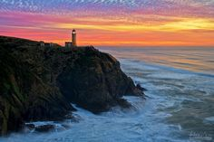 Sunset at North Head Lighthouse at Cape Disappointment State Park in Washington