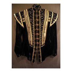 Elizabethan Men's Doublet, black gold velvet, C36 found on Polyvore.