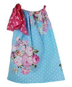 Look at this #zulilyfind! Blue & Pink Floral Pillowcase Dress - Infant, Toddler & Girls #zulilyfinds