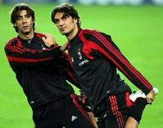 Once upon a time... Paolo Maldini & Rui Costa #Milan #SerieA #ACMilan #football #legends #respect