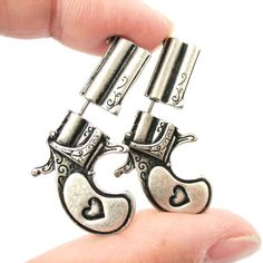 Punk Fake Gauge Double Sided Pistol Gun Bullet Faux Plug Earrings Fine Jewelry Ladies Metal Color antique silver - Famous Last Words Fake Gauges Plugs, Fake Gauge Earrings, Plugs Earrings, Double Earrings, Silver Earrings, Diamond Earrings, Hoop Earrings, Diamond Stud, Simple Earrings