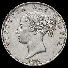 1879 Queen Victoria Young Head Silver Half Crown, Rare