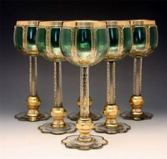 """Bohemian Green and Gold """"Moser"""" Art Glass - Set of 6 Wine Goblets"""