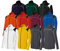 Asics Men's Miles Jacket!  Colors: White/Black, Gold/Black, Gray/Black, Orange/Black, Red/Black, Maroon/Black, Royal/Black, Navy/Black, Forest/Black, Black/White.  Customization available.