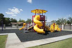 This age-appropriate playground in Crane, Texas features several mentally engaging panels and physically engaging climbers.