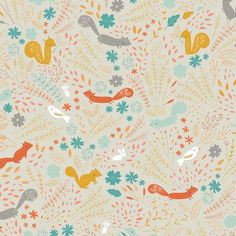 Preciosa tela con animales del bosque: pájaros y ardillas entre hojas, flores y plantas. TIPO DE TELA: Telapatchwork de importación(USA).COMPOSICIÓN:100% alg