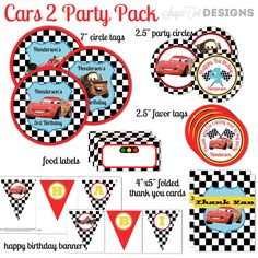 Cars 2 Themed Party Pack Decor Cupcake Toppers Favors Tags