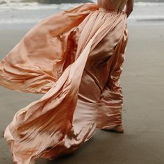 salmon silk dress