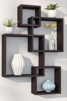 Unique Bookcase Decorating Ideas To Perfect Your Interior Design – Home Decoration Unique Wall Shelves, Wall Shelf Decor, Cube Shelves, Wall Shelves Design, Glass Shelves, Bookshelf Design, Corner Shelves, Decorative Wall Shelves, Wall Design