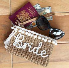Honeymoon Bride Personalised Luxury Straw Clutch Bag by ShadeOrShine How To Clean Straws, Honeymoon Packing, Bali Honeymoon, Painted Hats, Bridesmaid Bags, Straw Handbags, Cute Keychain, Handmade Wedding, Engagement Gifts