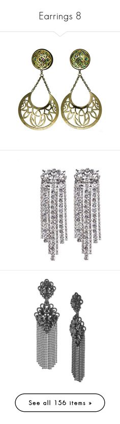 """""""Earrings 8"""" by piradical ❤ liked on Polyvore featuring jewelry, earrings, yellow gold earrings, silver drop earrings, crystal earrings, earring jewelry, gold crystal earrings, accessories, gunmetal and fringe earrings"""