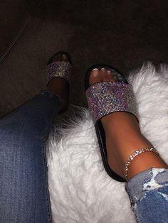 Shoes Flats Sandals, Cute Sandals, Slide Sandals, Flip Flop Sandals, Black Sandals, Cute Slides, Pink Slides, Glitter Slides, Crocs