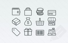 preview of wallet, shopping bag, cash, credit card, and package icons for ecommerce