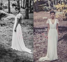 Find More Wedding Dresses Information about Vintage V Neck Wedding Dresses 2014 Long Boho Hippie Chiffon A Line Lace Cap Sleeve Bridal Gown Robe De Soiree,High Quality Wedding Dresses from Sao Tome Garments Co., Ltd. on Aliexpress.com