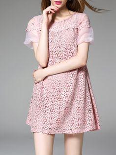 Pink Lace Sweet Mini Dress All Fashion, Fashion Beauty, Fashion Outfits, Cheap Dresses, Short Sleeve Dresses, Casual Formal Dresses, Korean Design, Pink Dress, Dresses Online