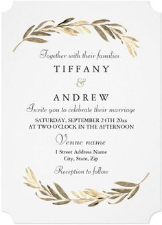 This Elegant boho Gold Leaf Wedding Invitation has a unique modern yet simple design future romantic olive leaves foliage in faux gold with classic black typography minimalist style. It is part of a collection of gold color palette theme wedding stationery invitations card that you can edit and personalize. Black And White Wedding Invitations, Classy Wedding Invitations, Minimalist Wedding Invitations, Printable Wedding Invitations, Wedding Stationery, Invites, Elegant Modern Wedding, Wedding Matches, Minimalist Style