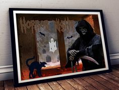 Grim Reaper Print #Horror Print #Death Print Cemetary And Graves #Halloween Wall Art A4, 8x10', 5x7' for $3.00, shop http://etsy.me/2fweVAq