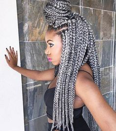 Top 60 All the Rage Looks with Long Box Braids - Hairstyles Trends Grey Box Braids, Big Box Braids, Blonde Box Braids, Jumbo Box Braids, Box Braids Styling, Braids For Black Hair, Box Braids Hairstyles, Try On Hairstyles, Black Hairstyles