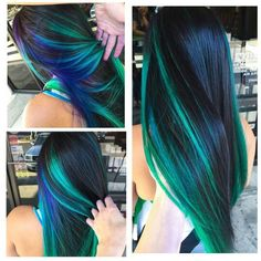 Blue green streak dyed hair color idea inspiration is beautiful. i really don't know how i wanna dye my hair now there are WAY too many options omg Hair Dye Colors, Cool Hair Color, Peacock Hair Color, Coloured Hair, Dye My Hair, Gorgeous Hair, Gorgeous Makeup, Hair Dos, Ombre Hair