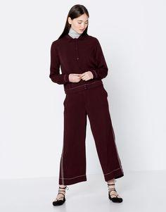 Pull&Bear - woman - new - clothing - culottes - wine - 09683338-I2016